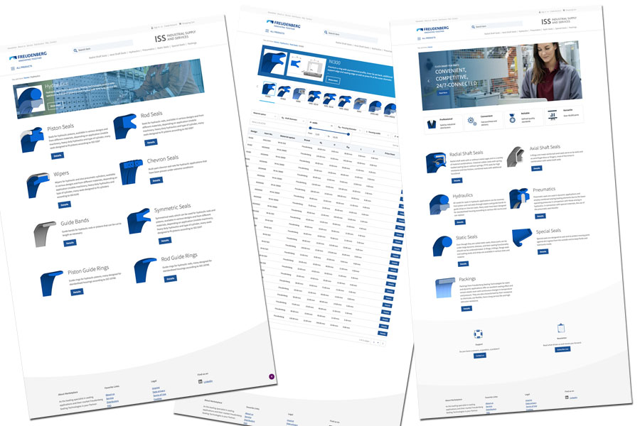 Screenshots of the Industrial Supply and Services online platform from Freudenberg Sealing Technologies